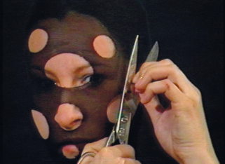 Sanja Iveković. Personal Cuts. 1982. Video (black-and-white and color, sound), 3:35 min. The Museum of Modern Art, New York. Gift of Jerry I. Speyer and Katherine G. Farley, Anna Marie and Robert F. Shapiro, Marie-Josée and Henry R. Kravis, and Committee on Media and Performance Art Funds. © 2011 Sanja Iveković