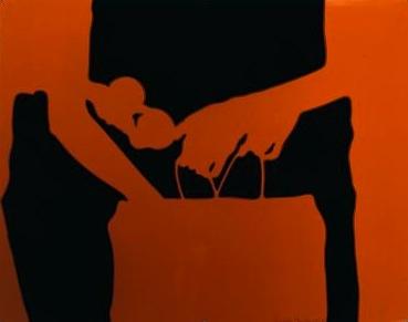 Lourdes Castro, Bolsa e laranjas, 1965, plexiglass e tinta glyceroftálica, Colecção MNAC-Museu do Chiado.