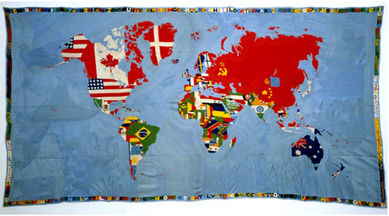 "Alighiero Boetti (Italian, 1940-1994). Mappa (Map). 1971-72. Embroidery on linen 78 ¾ x 141 ¾"" (200 x 360 cm). Glenstone. © 2012 Estate of Alighiero Boetti / Artists Rights Society (ARS), New York / SIAE, Rome"