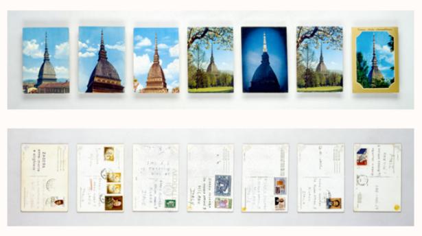 """La Mole Antonelliana. 1970–75 Postcards. Each: 5 7/8 x 3 15/16"""" (15 x 10 cm). Colombo Collection, Milan. © 2012 Estate of Alighiero Boetti/Artists Rights Society (ARS), New York/SIAE, Rome. Photo © Giorgio Colombo, Milano."""