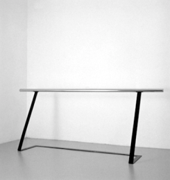 "Alighiero Boetti, Mancorrente metri 2 (2 Meter Handrail). 1966, Iron, varnish, chrome. 31 1/2 x 78 3/4 x 15 3/4"" (80 x 200 x 40 cm). Fondazione per l'Arte Moderna e Contemporanea CRT on loan to the Castello di Rivoli Museo d'Arte Contemporanea, Rivoli-Turin; Galleria Civica d'Arte Moderna e Contemporanea (GAM), Turin. © 2012 Estate of Alighiero Boetti/Artists Rights Society (ARS), New York/SIAE, Rome"