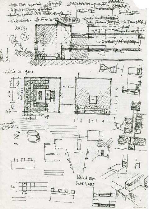 Fernando Távora, Escola de Arquitectura da Universidade do Minho, Esquissos da Sala de Desenho, s.d., s.e, A4 FIMS/ FT/ 0194 A - pd 0002. Cortesia da Fundação da Cidade de Guimarães.