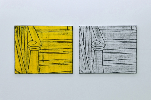 Matt Mullican, Comic Details (Stairs), Pastel de óleo e guache sobre tela, Oil-stick rubbing and gouache on canvas, Díptico | Diptych, instalação | installation 50 × 129 cm (cada | each 50 × 60 cm).