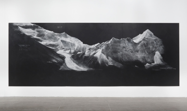Tacita Dean, Fatigues (F) 2012, Chalk on blackboard, 3 Panels,89 3/4 X 241 1/2 IN. (227.96 X 613.41 CM). Courtesy Marian Goodman Gallery.