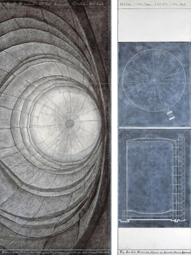 "Christo, The Big Air Package (Project for Gasometer, Oberhausen, Germany), Drawing 2012 in two parts 96 x 42"" and 96 x 28"" (244 x 106.6 cm and 244 x 71 cm). Pencil, charcoal, pastel, wax crayon, wash and architectural plans, Photo: André Grossmann © 2012 Christo"