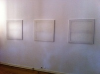 António Caramelo, erased R erased de K, 2012/2013, acrílico s/tela, tríptico, 3 x 75x75cm.