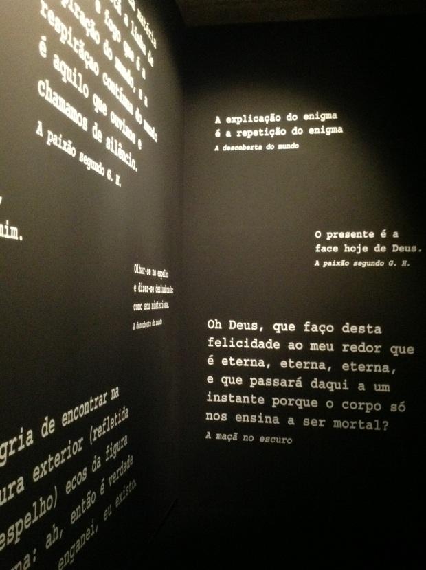 Vista da exposição 'Clarice Lispector - A hora da Estrela' na Galeria de Exposições Temporárias do Museu Calouste Gulbenkian, Lisboa, 2013.