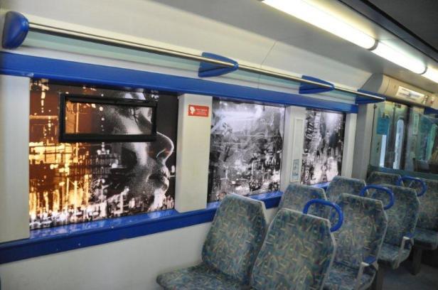 Projecto Janela (P28), intervenção de Vhils nos comboios da CP, Lisboa, 2013.