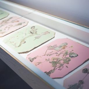 paula roush e maria lusitano, Queer paper gardens/ Estranhos jardins de papel, Museu da Electricidade, Lisboa. Installation with video, mixed media collage salon, publications, drawings and archive, 2012- 2013.