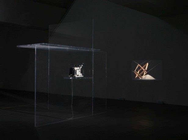 Bojan Šarčević, The Breath Taker is The Breath Giver (Film C), 2009. Super 16mm film, sound, colour; perspex 300 × 300 × 200 cm. Courtesy of the artist and Modern Art, London.