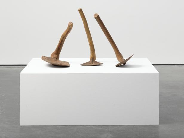 Damián Ortega, Geometric Principle (Basic forms: square, triangle, circle) 2013, 3 plow shovels from Nigeria, Africa, 18 1/2 x 29 15/16 x 18 1/2 in. (47 x 76 x 47 cm) © Damián Ortega. Photo: Ben Westoby. Courtesy White Cube
