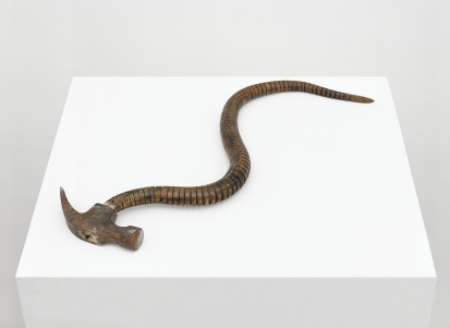 Damián Ortega, Tired Pickaxe: metaphor of the natural, 1997. Wood, metal and leather, 16 x 20 in. (40.6 x 50.8 cm) © Damián Ortega. Photo: Ben Westoby. Courtesy White Cube.