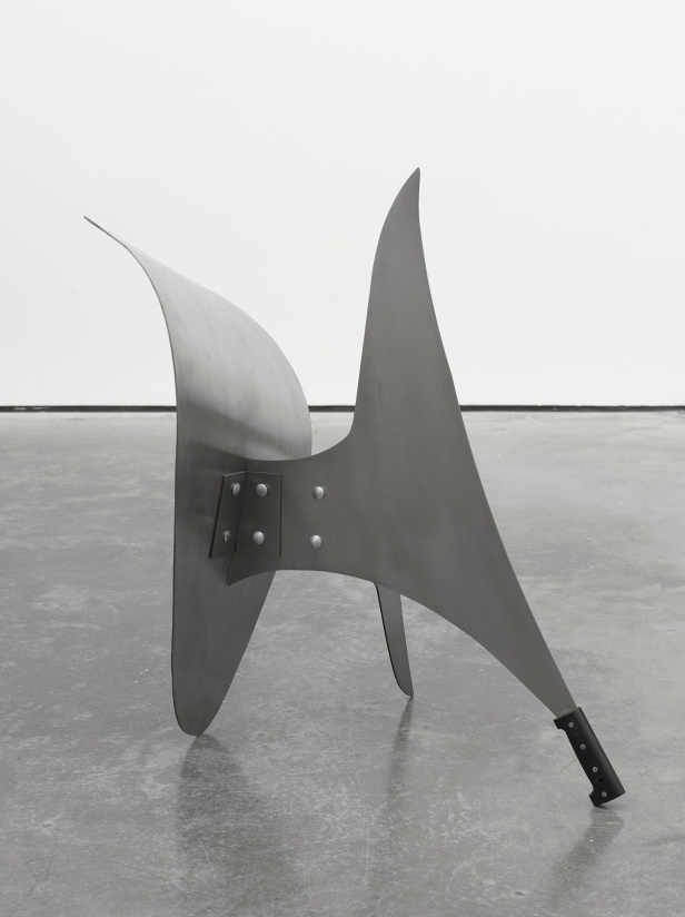 Damián Ortega, Tool in the expanded field. Dissection in the open space (Alexander Calder tool) 2013. Sheet metal and plastic, 31 1/2 x 24 7/16 x 19 11/16 in. (80 x 62 x 50 cm) © Damián Ortega. Photo: Ben Westoby. Courtesy White Cube.