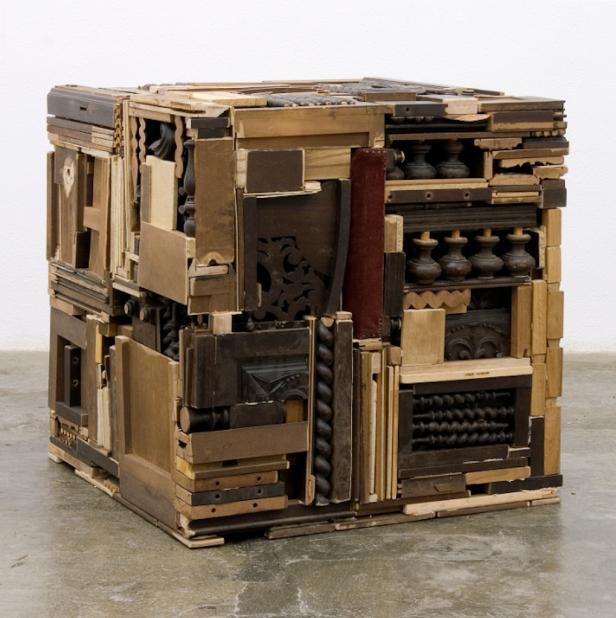 Patrícia Garrido, Móveis ao Cubo (A.A. #2), 2009 Madeira, termolaminado, ferro, cola de montagem 80 x 80 x 80 cm (aprox.) Colecção da Artista