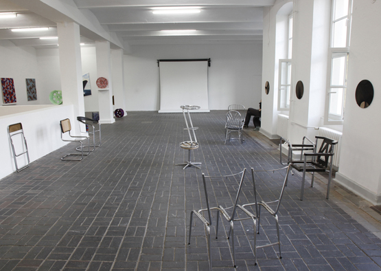 """Untitled"" of the series ""Neuer Lustgarten / New Pleasure Garden"", 2008/09 Metal, plastic, cane, linen, wood, leatherette, variable dimensions Installation view Based in Berlin, KW Kunstwerke, Berlin, 2011."