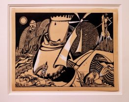 Amadeo de Souza-Cardoso, Le Moulin, 1912. (DESENHO Nº15 PARA O ALBUM XX DESSINS). Tinta-da-china e guache sobre papel.(Piso -1) Exposição 'Sob o Signo de Amadeo - Um Século de Arte'. CAM-Fundação Calouste Gulbenkian, 2013-2014.