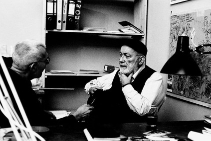 Dieter Roth in his office in the exhibition at Wiener Secession, 1995. Photo: Dirk Dobke.