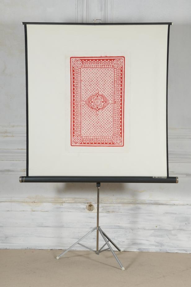 Ana Jotta, 21 Artistes pour Demain, 2007. Acrílico sobre ecrã de projeção, 212 × 140 × 56 cm. Coleção Peter Meeker, em depósito na Fundação de Serralves – Museu de Arte Contemporânea, Porto