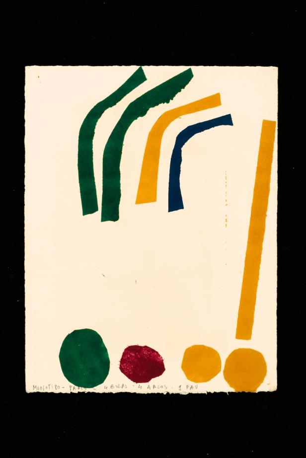 Luisa Correia Pereira, Luisa Correia Pereira 4 bolas – 4 arcos – 1 pau, 1973. Monotipia Créditos: DMF, Lisboa