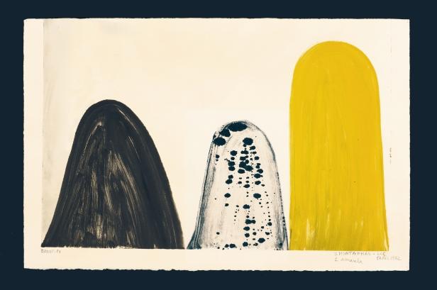 Luisa Correia Pereira, 3 montanhas, 1 amarela, 1972 ● Monotipia Créditos: DMF, Lisboa.