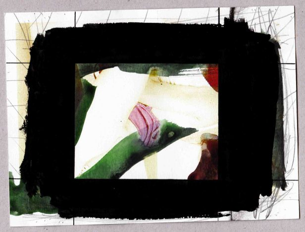 Pedro Sousa Vieira, Bambi Woods (Rosa) | Bambi Woods (Pink) 2013. Acrílico, guache, grafite e impressão a jato de tinta sobre papel | Acrylic, gouache, graphite, and inkjet print on paper. 14,6 x 19,7 cm | 5,74 x 7,75 in © Pedro Sousa Vieira 2013. Cortesia do artista.