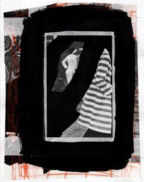 Pedro Sousa Vieira, From the Isle of Woman, 2013. Acrílico, guache, lápis de cor, grafite e fita de reparação de arquivo sobre recorte de revista sobre papel | Acrylic, gouache, colored pencil, graphite and archive mending tape  on magazine clipping on paper, 20,1 x 16 cm | 7,91 x 6,29 in Ref.: 4V2013 © Pedro Sousa Vieira 2013. Cortesia do artista.