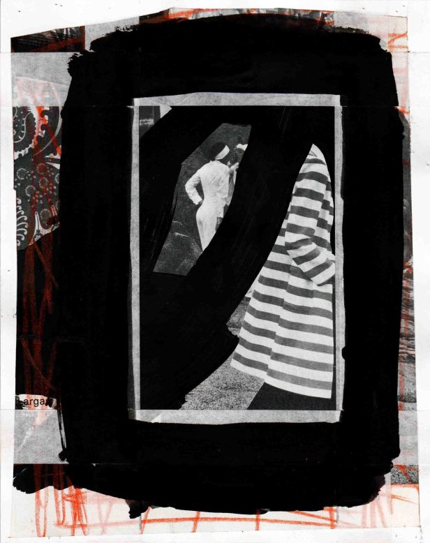 Pedro Sousa Vieira, From the Isle of Woman, 2013. Acrílico, guache, lápis de cor, grafite e fita de reparação de arquivo sobre recorte de revista sobre papel | Acrylic, gouache, colored pencil, graphite and archive mending tape on magazine clipping on paper, 20,1 x 16 cm | 7,91 x 6,29 in Ref.: 4V2013 © Pedro Sousa Vieira 2013. Cortesia do artista.