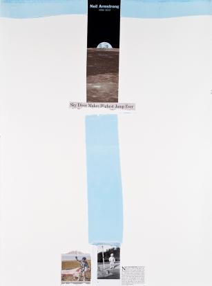 Miguel Palma, Dibujo 11, Up and Down #10, 2014. Collage serigrafia y rotulador sobre papel 77x57 cm.