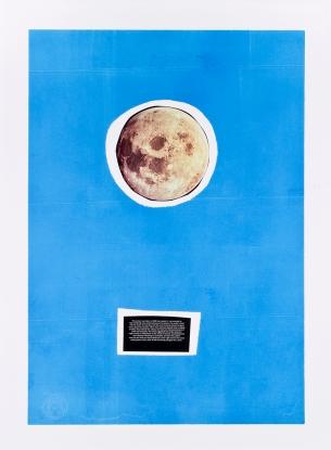 Miguel Palma, da série Up and Down, 2014. Collage serigrafia y rotulador sobre papel 77x57 cm.