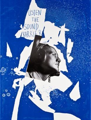 Miguel Palma, Dibujo 15, Up and Down #13, 2014. Collage serigrafia y rotulador sobre papel 77x57 cm.