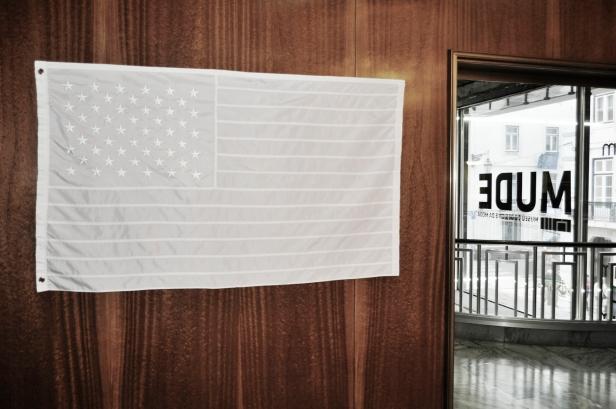 Joao Felino, USA; bandeira de nylon dos Estados Unidos da America; da serie Flags of the World; estrelas bordadas e barras costuradas, nylon e duas ilhós metalicas; 90 x 150 cm; 2013. Cortesia do artista.