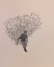 Johanna Calle, Submergentes 5, 2011 | Cobre, tela de arame, (Letraset) e tinta sobre cartão/ copper wire mesh, (Letraset) and ink on cardboard. Cortesia da artista.