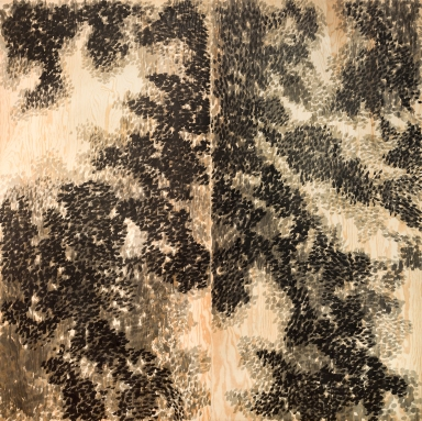 Sophie Whettnall, Dyptique Femme sans ombre 04, 2014 Madeira, tinta da china Wood, indian ink 244 × 244 cm. Fotografia da exposição 'Shadow piece' na Vera Cortês Art Agency: Bruno Lopes.