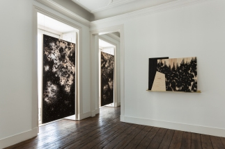 Sophie Whettnall, Shadow piece (window 03, 01 ), 2014 Madeira, tinta da china, latão Wood, indian ink, brass 100 × 150 cm. Fotografia da exposição 'Shadow piece' na Vera Cortês Art Agency: Bruno Lopes.