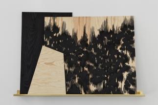 Sophie Whettnall, Shadow piece (shelf 2), 2014 Madeira, tinta da china, latão Wood, indian ink, brass 100 × 150 cm. Fotografia da exposição 'Shadow piece' na Vera Cortês Art Agency: Bruno Lopes.