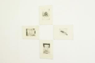 Vista da exposição 'Contra/cto' (detalhe), Sandra Gamarra, Los Nuevos oradores III, I, II, IV 2010. Ponta seca 41 x 30 cm, Imagem: Cortesia da artista e 3+1 Arte Contemporânea, Lisboa.