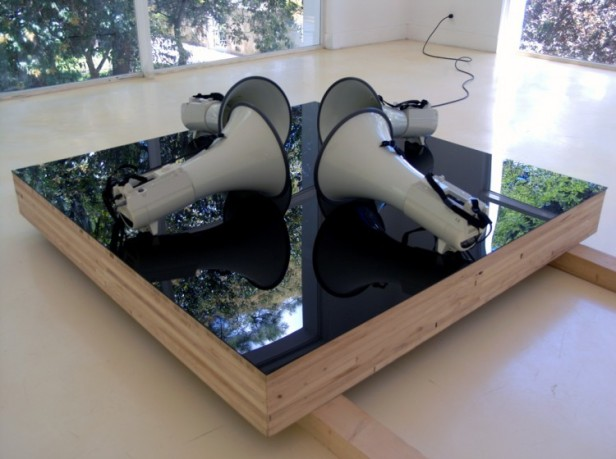 Pires Vieira, 'Narrativas', Chapa acrílica, Llameado de madeira, Megafones, materiais diversos, 160 X 160 X 60, 2003, Colecção Museu Coleção Berardo.