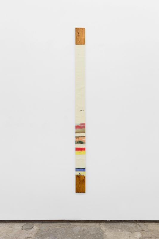Rui Horta Pereira, Nível 4, 2014, têmpera e acrílico sobre pano cru, montado em madeira, 240 x 14.5 x 1.5 cm. Foto: Bruno Lopes. Imagem cortesia do artista e 3+1 Arte Contemporânea, Lisboa