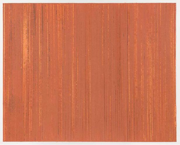 AnaMary Bilbao, Untitled (Fallacious memory #6), 2014, lápis de cor, pigmentos e gesso acrílico sobre papel de algodão, 20,3 x 25,5 cm. Cortesia da artista e Caroline Pagès Gallery.
