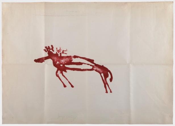 Joseph Beuys, Elch 1975/77. Prova única litográfica sobre papel dobrada 3 vezes e assinada. 73cm x 102 cm. Coleção particular Foto © António Jorge Silva.