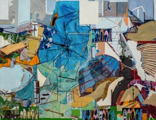Lucia Laguna, Paisagem n.73, 2014. Acrílico e óleo s/ tela, 140 x 180 cm. Fotografia Mário Grisolli. Cortesia da artista e Cristina Guerra Contemporary Art.