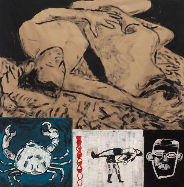 Sara & André, Luta, 2014. Técnica mista e colagem sobre papel, 198 x 195 cm. Cortesia dos artistas e MNAC.