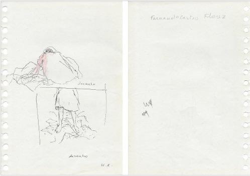 Helena Almeida, #17 Desenho, 2010 – 14. Lápis, tinta da china e pastel de cor sobre papel, 21 x 14 cm (Frente e Verso). Cortesia da artista e Galeria Filomena Soares.