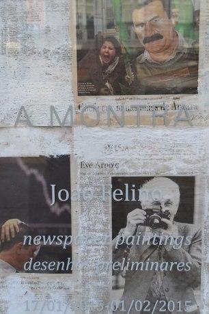 Joao Felino, da série newspaper paintings; desenhos preparatórios, acrílico sobre papel de jornal; dimensões variáveis de acordo com o formato original da folha de papel; 1990 – – ongoing; vista de pormenor da instalação; newspaper paintings ' desenhos preliminares, A Montra, Lisboa, Jan 17 - Fev 1, 2015. © fotografia Raquel Melgue.