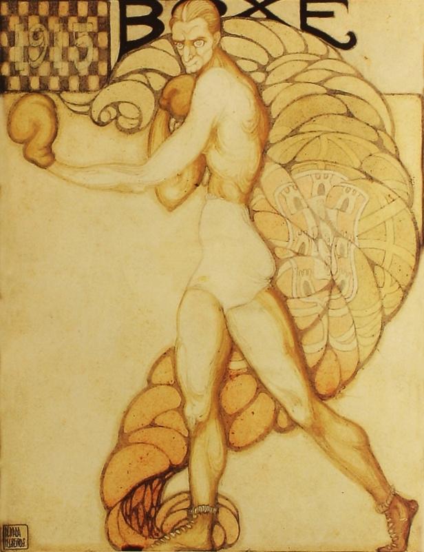 Almada Negreiros, Boxe. Exposição Almada Negreiros: O que Nunca Ninguém Soube que Houve. Museu da Electricidade, Lisboa. Cortesia da Fundação EDP.