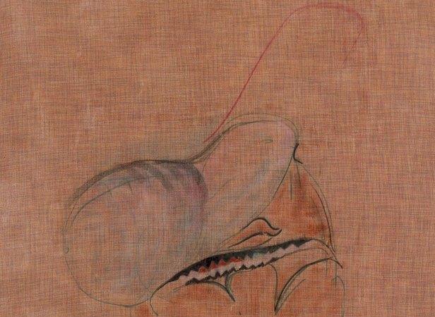 Robin Vanbesien, sem título (Gravidade), detalhe, 2014, acrílico, pastel e carvão sobre tela, 92 x 84 cm. Cortesia do artista e Lumiar Cité. © Fotografia de Kristien Daem.