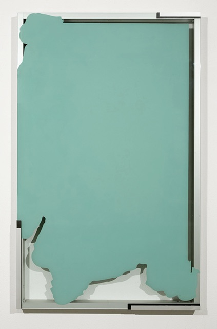 Pedro Cabrita Reis, On Houses and Trees, #2, 2013. enamel on glass, aluminium frame, rubber 80 7/10 × 49 2/5 × 4 1/2 in 205 × 125.5 × 11.5 cm. Cortesia do artista e MAI 36 Galerie.